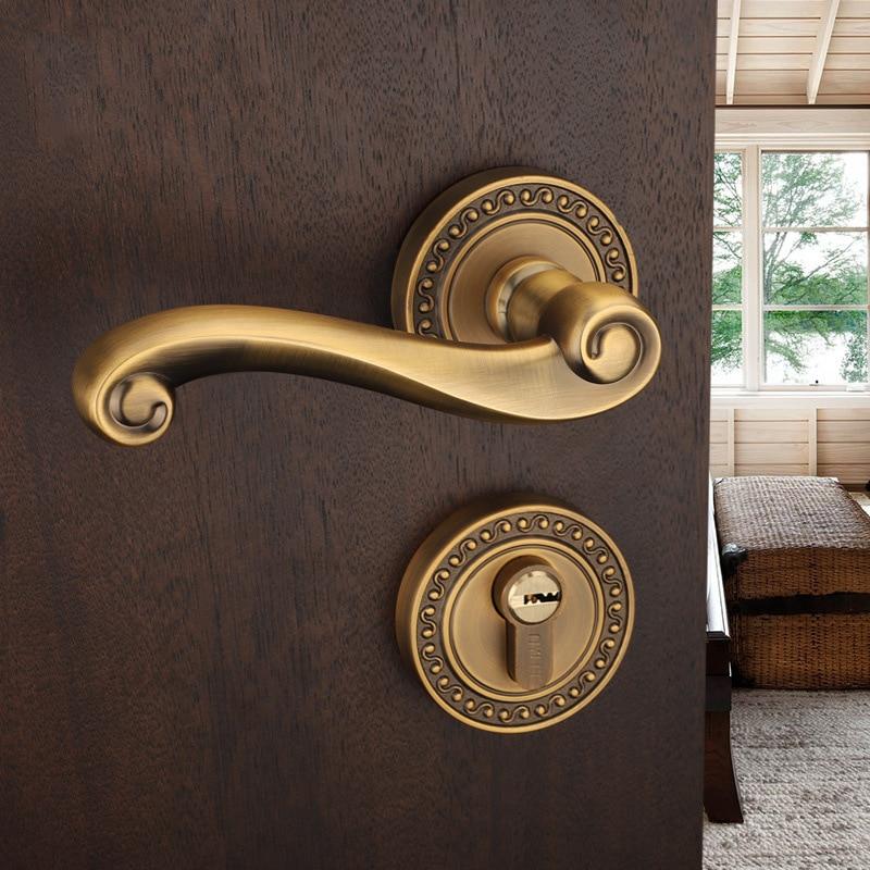 Zinc Alloy Sliding Door Lock European Style High Grade Yellow Bronze Furniture Handle Locks For Bedroom Living Room