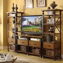 American rural retro iron wood Zhiwu LCD TV cabinet entrance cabinet drawer combination multifunction