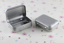 12 pcs/lot SURVIVAL KIT TIN HINGED LID Silver Small Empty Plain Metal Storage Bit Box Mini(China)