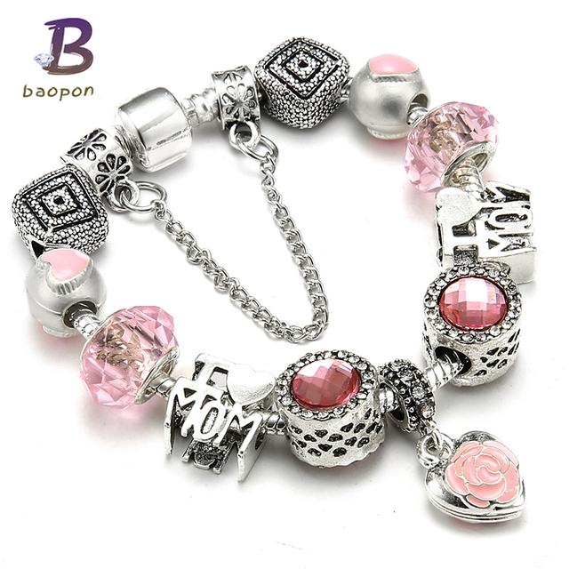 New Arrival Pink Color Charm Bracelet First My Mom Heart Dangles Brand Bracelets Mother's Day Gift DIY Jewelry