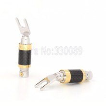 Free shipping 4pcs  CF-201(R) carbon fiber Rhodium plated Y spade for audio speaker cable Y spade