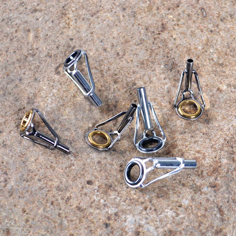5 unids/lote caña de pescar guía superior 1,6mm-4,6mm caña de aparejo de pesca reparación de la punta Kit DIY anillos de ojo herramienta Accesorios