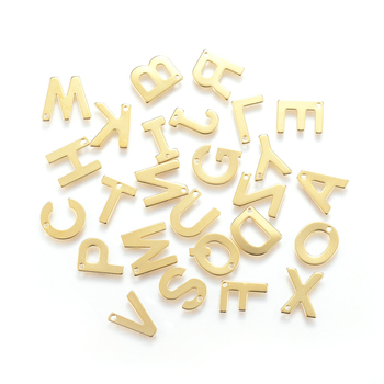 100pcs/lot Small 304 Stainless Steel Alphabet Charms Pendants English Letters Golden Colorfor Bracelet Necklace Jewelry Making