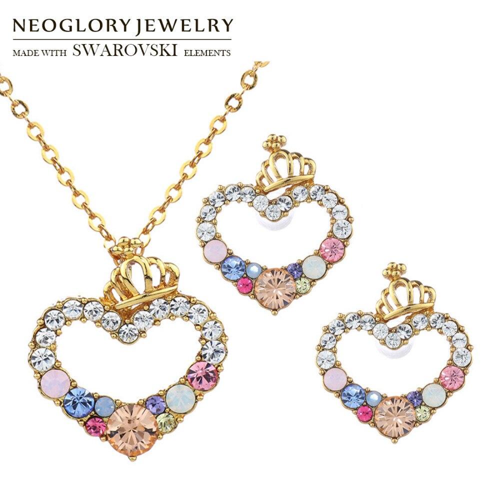 Neoglory Earrings Jewelry-Set Necklace Rhinestone Gift Love Cute Sale Austria Heart Romantic