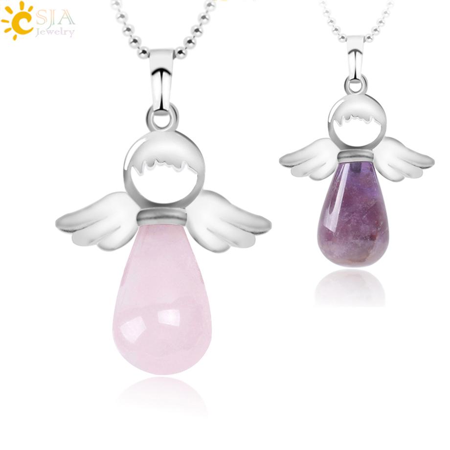 Ожерелье csja с ангелом из натурального камня ожерелье розовым