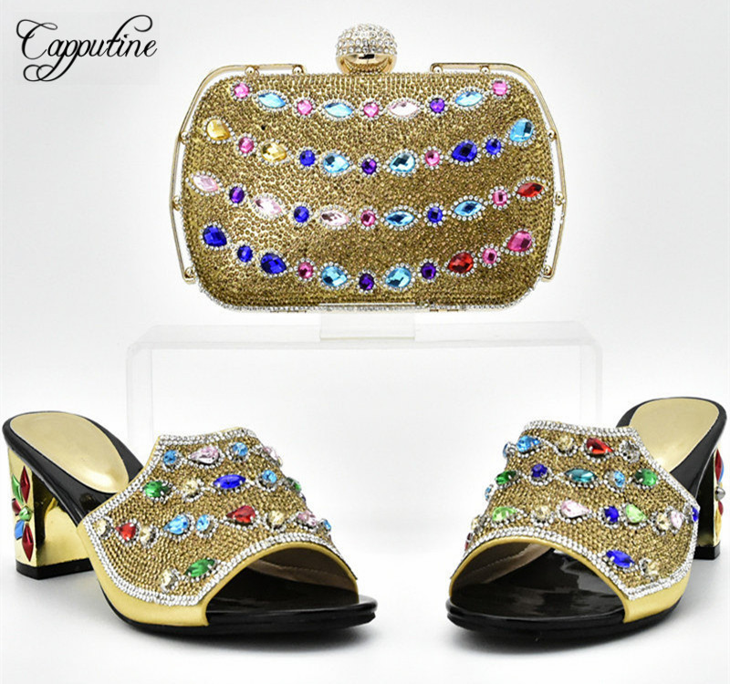 Capputine African Rhinestone Women High Heels Gold Shoes And Bags Set New Summer Style Slipper Shoes And Bag Set For Party DF-03 itlian style rhinestone slipper shoes and matching bag set new africa high heels shoes and bag set for party size 38 43
