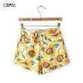ORMELL New Fashion Ladies' Elegant Floral Print Shorts Vintage Zipper Pockets Shorts Causal Slim Brand Shorts Plus Size CS160825