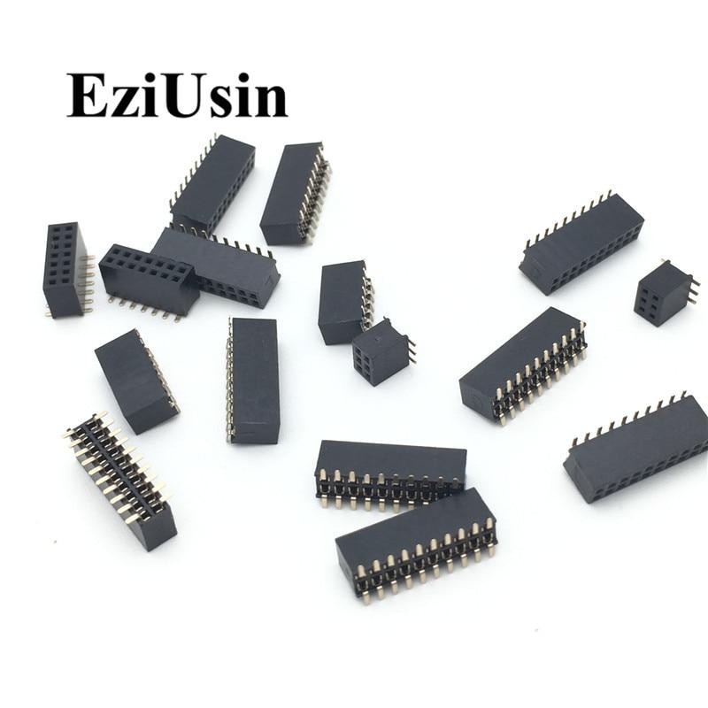 SMT 1.27mm 1.27 Double Row Female Breakaway PCB Board Pin Header Socket Connector Pinheader 2*5 2*10 2*12 2*15 2*20 2* 3-50P SMD