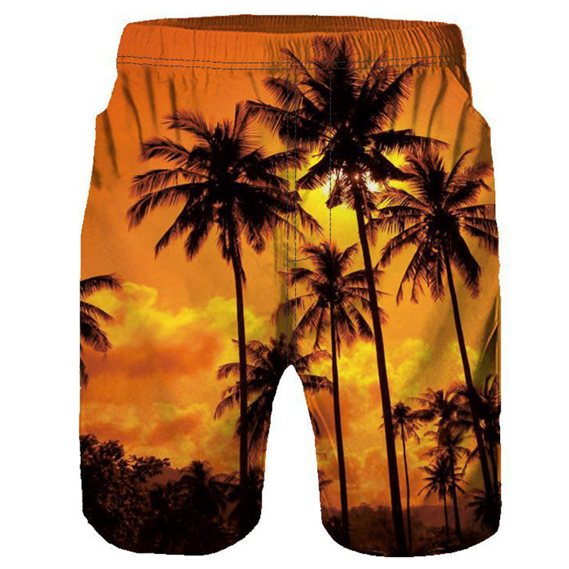 Mens   Board     Shorts   Summer New Beach   Shorts   Palm Leaf Men   Short   Plus Size Sports Sweat   Board     Shorts   Swimsuit