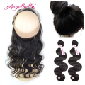 Angelbella Brazilian Body Wave Lace Frontal with Bundles Best Virgin Hair Extensions Natural Wave 360 Frontal & 2 Bundles Hair