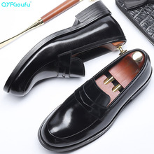 QYFCIOUFU 2019 Round Toe Dress Shoes Men Fashion Genuine Leather Wedding Shoes Luxury Slip-on Business Office Men Formal Shoes akamatsu embossed genuine leather formal business men shoes square toe slip on men dress loafers black office men shoes