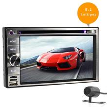 Quad Core Android 5.1 car dvd 2din universal Car DVD Player double din Stereo GPS Navigation car radio android 2din+Free camera
