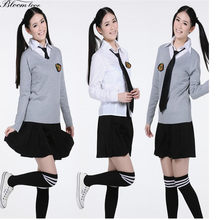 Sweater+Shirt+Skirt Hot School Girl Autumn Winter JK Student Girl formal dress Cosplay Costume japanese school uniform CCX(China)