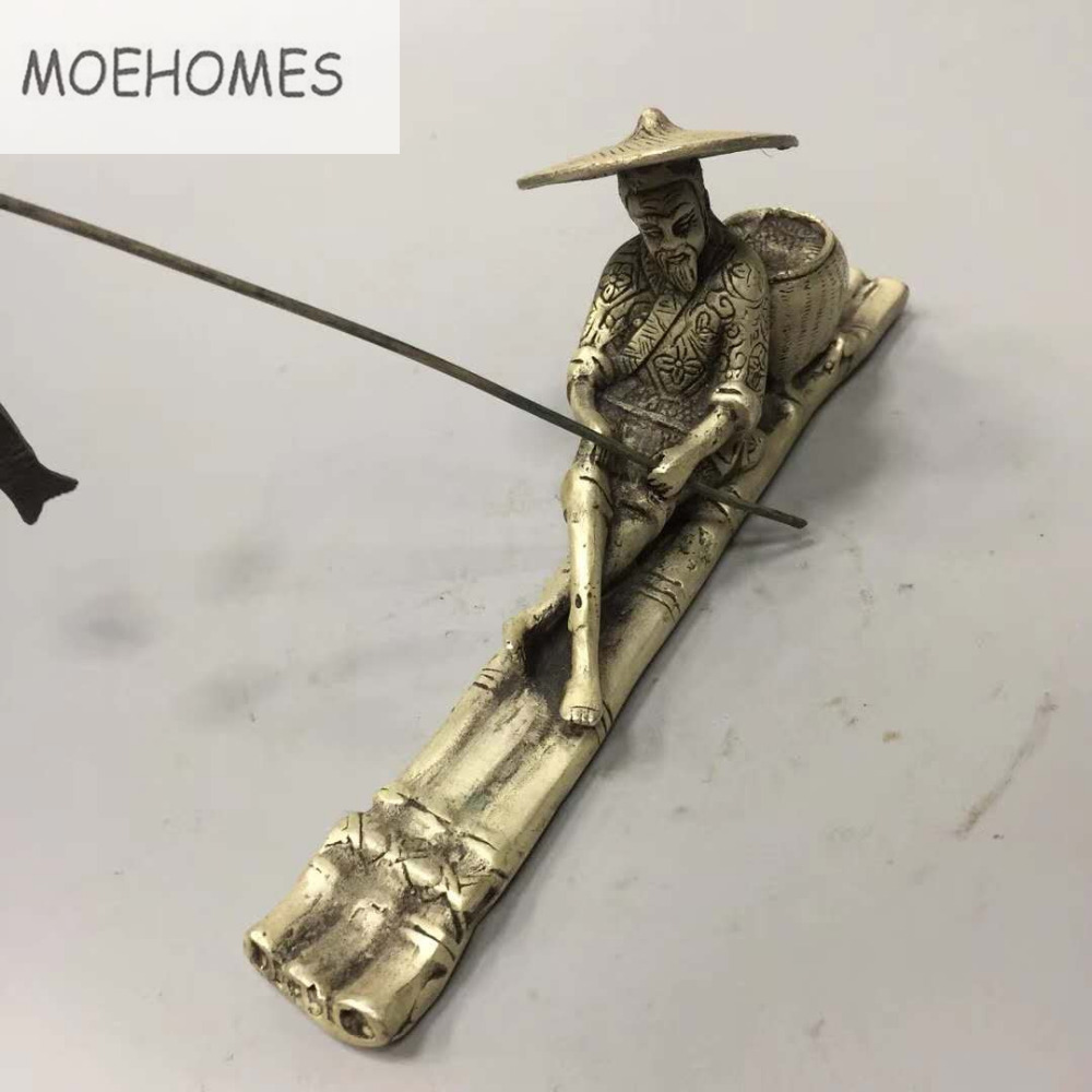 MOEHOMES Chinese historical figure - Jiang Tai Gong fishing Silver Statue metal handicraft home desktop decoration image