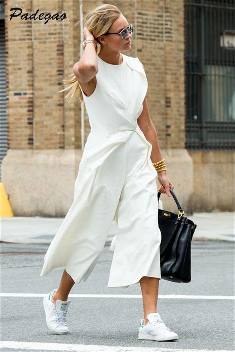 PADEGAO blanco tobillo-longitud pantalones cintura imperio asimétrico chaleco Conjoined pantalones 2017 Casual moda mujer ropa elegante Delgado