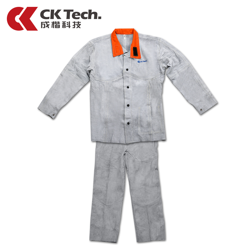 CK Tech Brand New Cowhide Welding Clothing Welder Coat Flame Resistant Overalls Cow Leather Welding Working Suit 3130 цена
