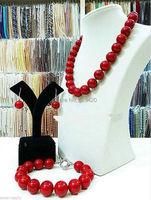 EY757 Großhandel>> New Ziemlich 8mm Rot Shell Sea Pearl Halskette Armband Ohrring Jewel Set 18''7. 5 ''