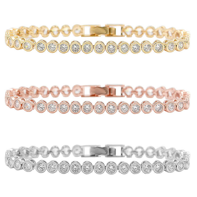 Sparkling 36 PCS Round Cut Cubic Zirconia Crystal Tennis CZ Bracelets for Women or Wedding in 3 assorted colors