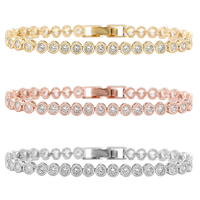 Sparkling 36 PCS Round Cut Cubic Zirconia Crystal Tennis CZ Bracelets For Women Or Wedding In