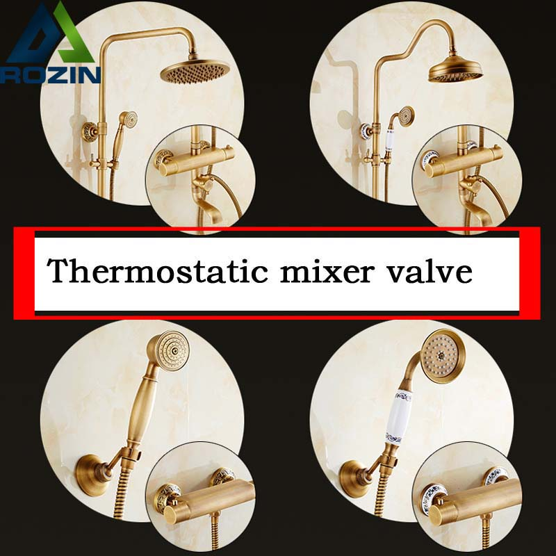 Antique Brass Wall Mount Thermostatic Shower Mixer Faucet One Handle Bathtub Shower Faucet with Handheld Shower все цены