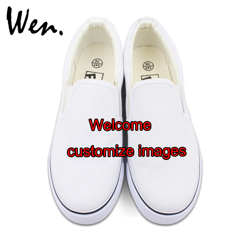 Wen Customize White Slip On Hand Painted Canvas Shoes Offer Pictures You Like to Design Accept Bargain According to Complexity