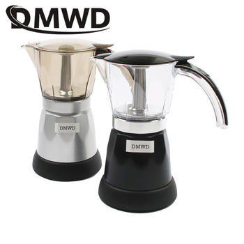 DMWD Electric Aluminum Stove top Coffee Maker automatic heating Mini Espresso Percolator pot Moka espresso coffee Kettle 3-6 cup фото