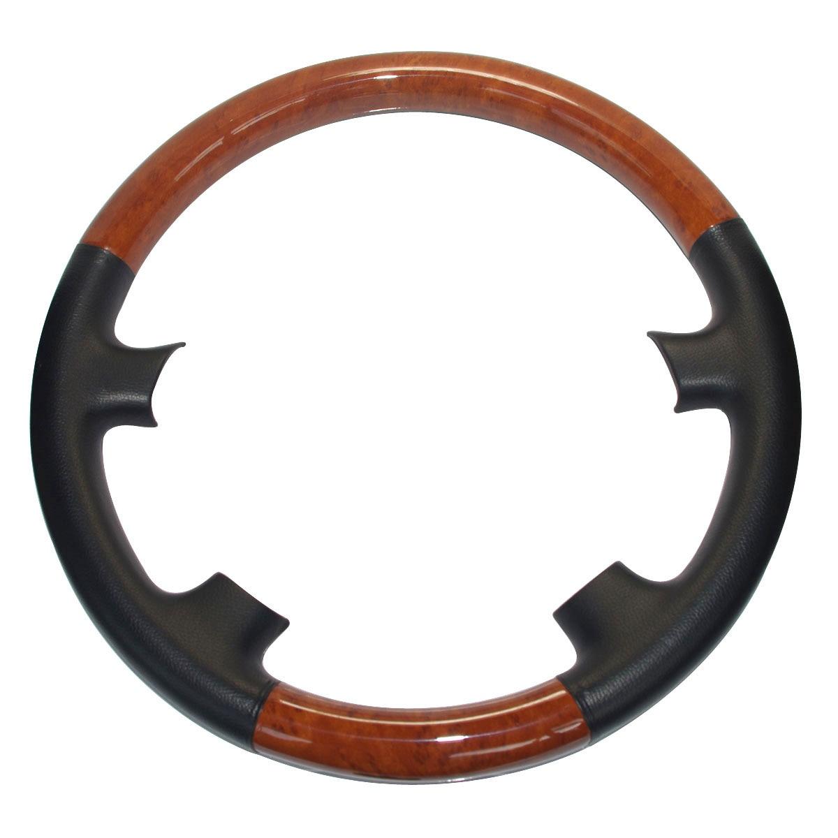 Leather Brown Wood Steering Wheel Cover Protector For 2003-2007 Toyota Land Cruiser FJ100 4700 Prado FJ120 Lexus LX470 GX470