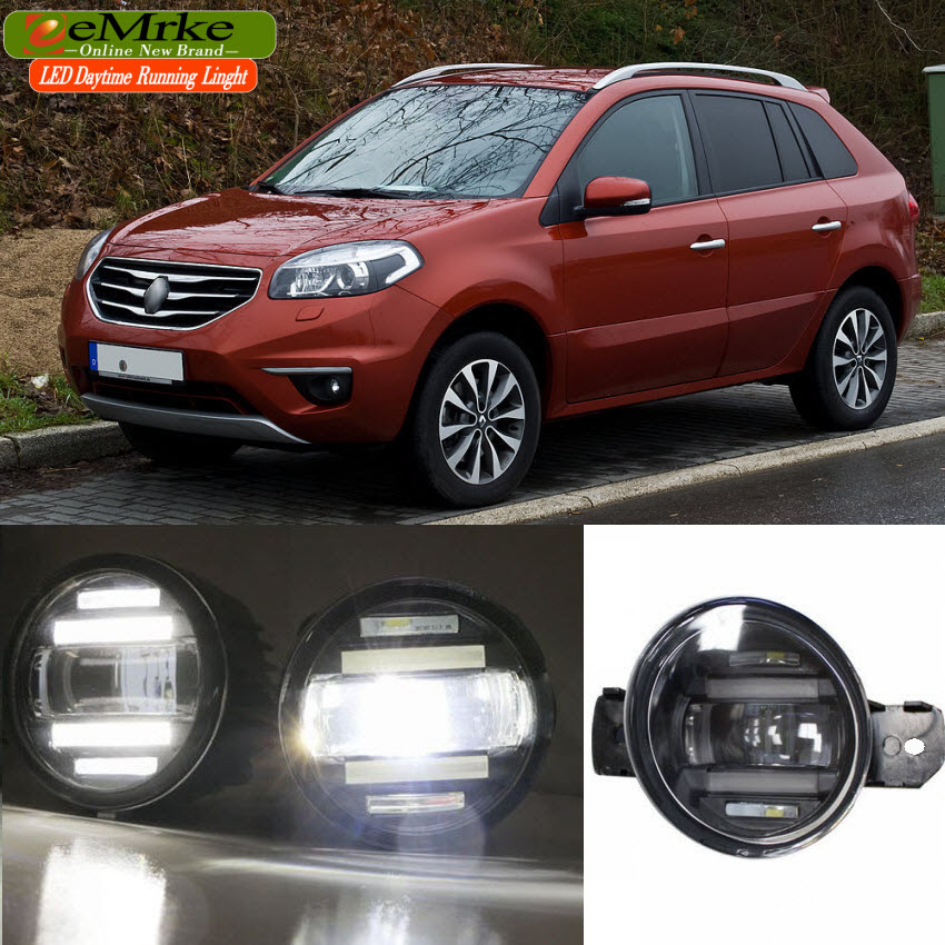 eeMrke Xenon White High Power 2in1 LED DRL Projector Fog Lamp With Lens For Renault Koleos Samsung QM5 2008-2015
