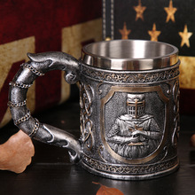 Knight mug beer stainless steel skull water paladin coffee creative bar drinking set