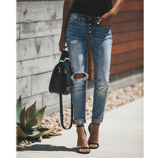 High Waist Skinny Jeans Women Vintage Distressed Denim Pants Holes Destroyed Pencil Pants Casual Trousers summer Ripped Jeans