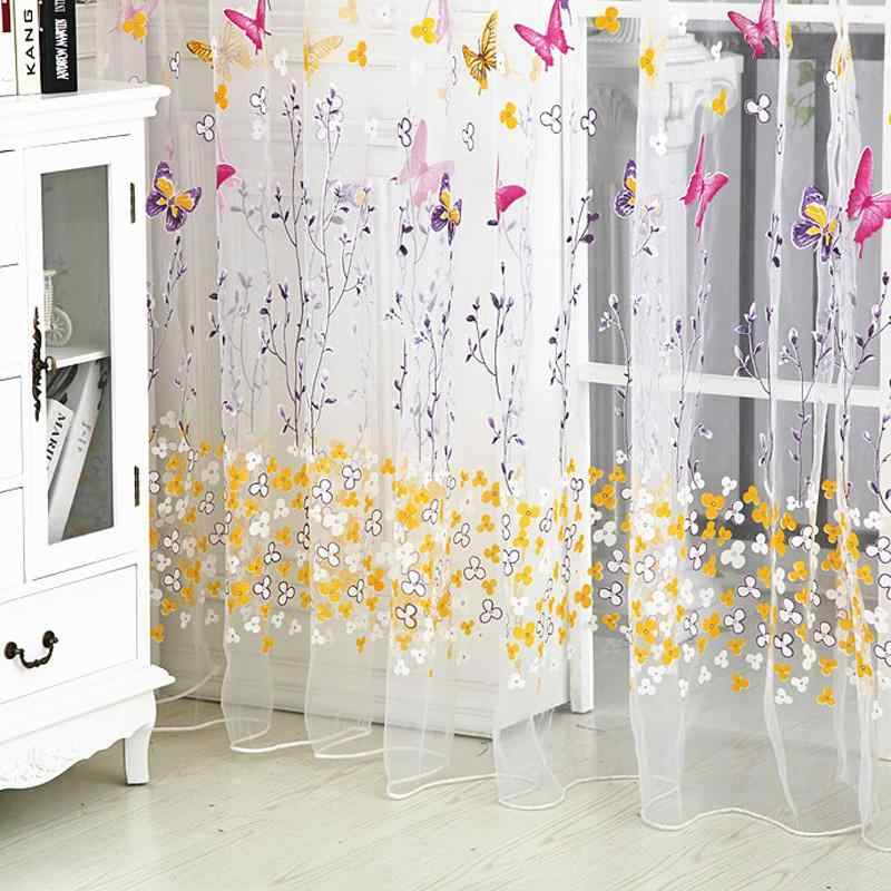 Butterfly Floral Tulle Voile Window Curtain Roman Shades Blinds Embroidered Sheer Kitchen Living Room Panel Rose Green Romantic