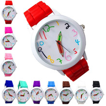 Unisex Quartz Watches for Children 1 PC Colorful Stylish Number Wrist Watch Silicone Strap Students Sport Watch Wholesale 40M10