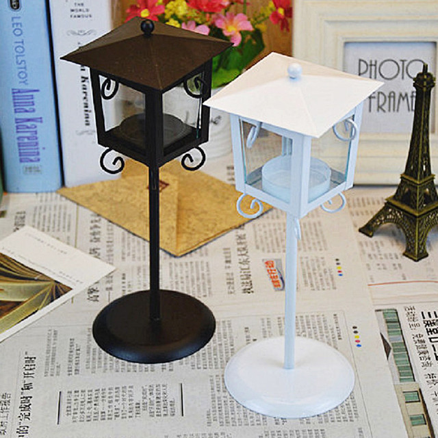 European Classic Stand Lantern Retro Style Candle Holder Wedding Lantern Party Decoration Romantic Feelings White & Black colors 5