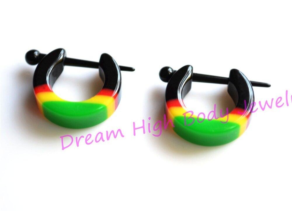 Ear Plug Stretchers Hoop Earring Acrylic Rasta Tribal Ethnic Piercing For Women Rasta Reggae Bob Marley Yellow Red Green
