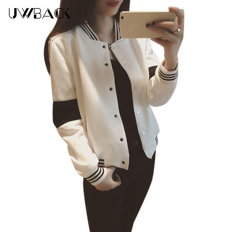 2016New Marke Bomberjacke Frauen Schwarz Weiß Gestreifte Kurz Baumwolle  Outwear Coats Weiblich Stehen Collor Dünne ce05db7ffa