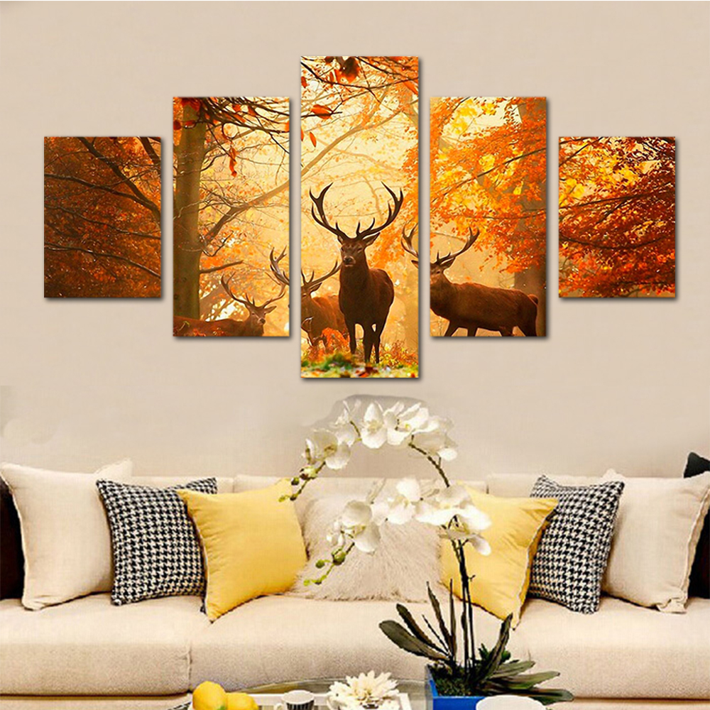 Unframed HD Print 5 Canvas Art Painting Maple Elk Group Canvas Mural Living Room Decoration Picture Unframed Free Shipping