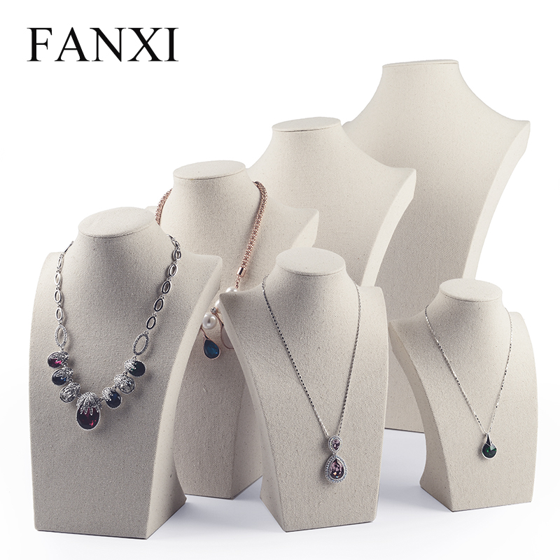 Fanxi Professional Linen Cream White Necklace Bust Stand Mannequin Necklace Holder Jewelry Display Shelf Showcase Organizer Necklace Mannequin Display Stand Rackjewelry Display Stand Aliexpress