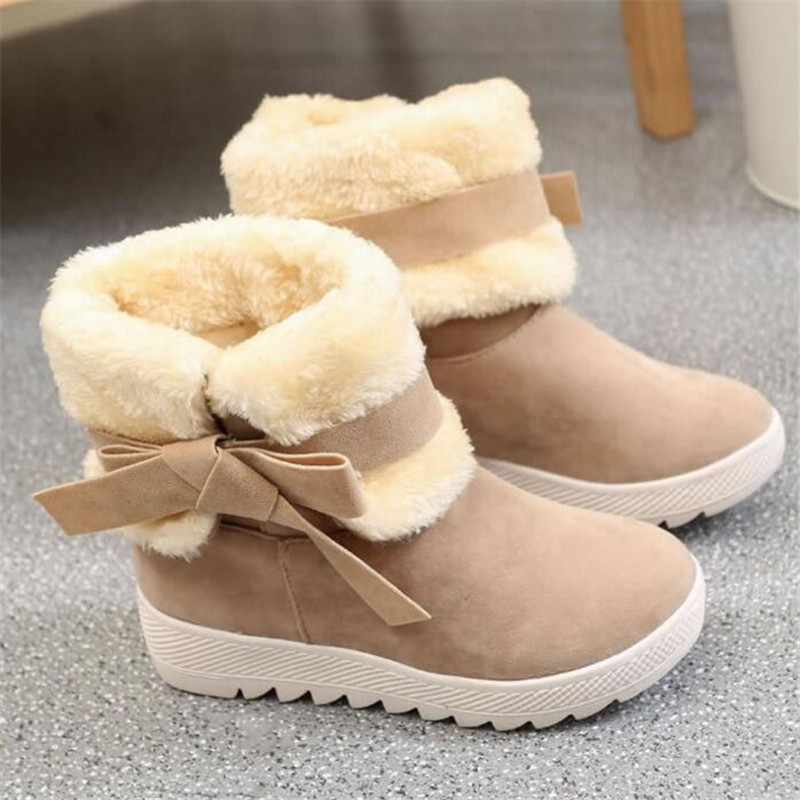 MXHY 2019 Women Snow Boots Warm Winter Ankle Boots Female Shoes Plus Student Bow Fashion Child Snow Boots Fashion Kids Sneakers