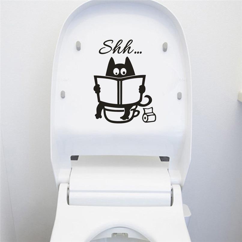 1 шт. стены Стикеры s для туалета Украшения Кот Shh Туалет Стикеры Home Decor Стикеры s мурау Pegatinas де сравнению D12
