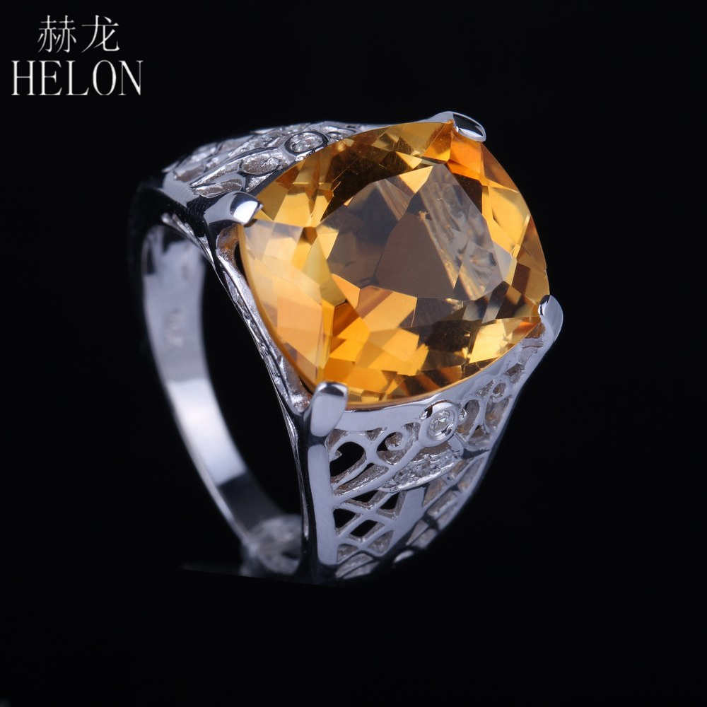 HELON Cushion 8 5ct 14x12mm 100 Genuine Citrine Natural Diamonds Sterling Silver 925 Engagement Wedding Classic