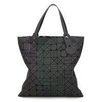 Laser Bags Geometric Design Handbag Women Big Lady Shoulder Bag 2017 Luminous Female Ladies Hand Bags