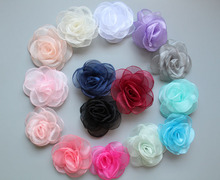 30pcs/lot 4.3 15colors Newborn Gauze Layered Flower For Baby Girls Hair Accessories Handmade Rose Fabric Flowers Headbands
