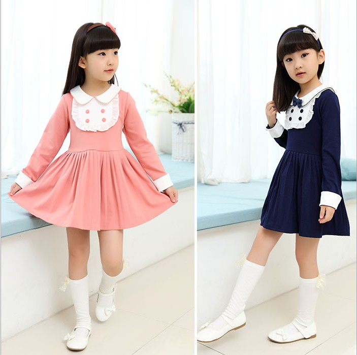 2016 Spring Girls Princess Dress Child Beautiful Long Sleeved Prom Dresses Female Clothes Cotton