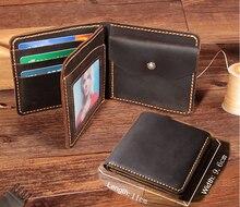 Handmade Vintage Crazy horse portfel ze skóry naturalnej mężczyźni torebka skórzany portfel męski krótki styl portfel męski portmonetka uchwyt na pieniądze