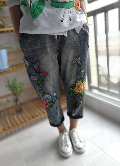 2017 Spring and Summer Sen Female National Style Arts and Crafts Fan Butterfly Embroidered Cowboy Pants Retro Classic Pants сумка whiting and davis ct39 290361 ct39 290361