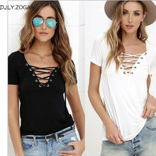 2018 New Fashion Women Summer Solid Color V Neck Sexy Short Sleeve T-shirt Tops