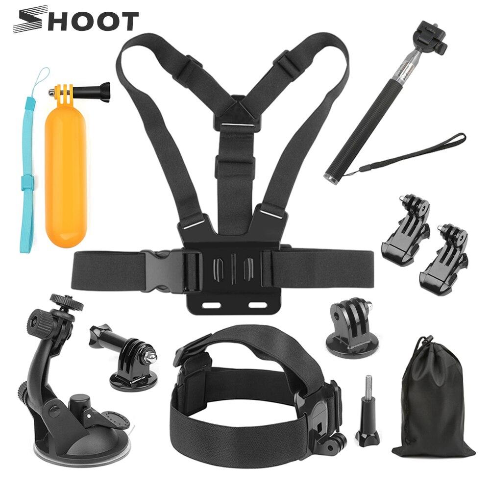 Disparar Universal accesorios acción de la cámara para GoPro héroe 7 5 6 4 sesiones M20 h9r Xiaomi Yi 4 K SJCAM SJ4000 montaje ir Pro Kits