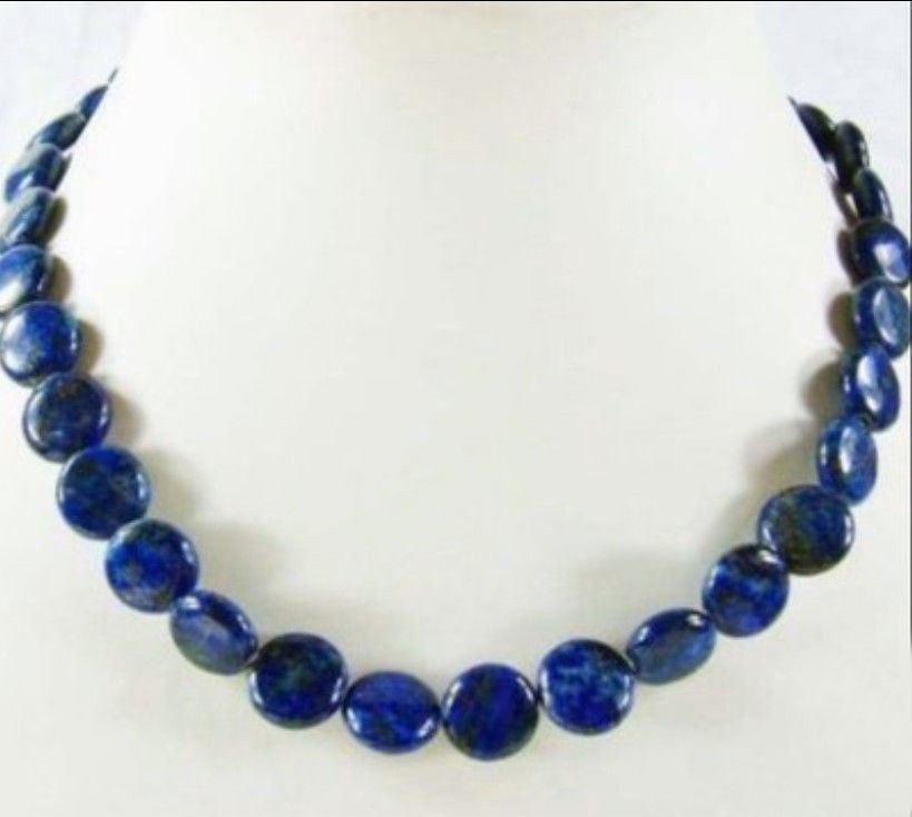 JD65 DE76 FREE shipping>>> >>>12mm Natural Egyptian Lapis Lazuli stone Coin Beads Jewelry Necklace 18
