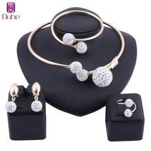 Комплект ювелирных изделий из бисера и кристаллов золотого/серебряного