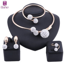 Exquisite Dubai Gold/Silver Color Crystal Sets Nigerian Wedding Woman Accessories Jewelry set African Beads costume Jewelry Set luxury dubai jewelry sets women crystal gold wedding accessories flower necklace wedding african beads jewelry set costume
